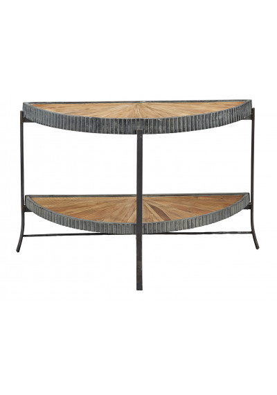 Reclaimed Pine Starburst Design Fluted Iron Band Console Table