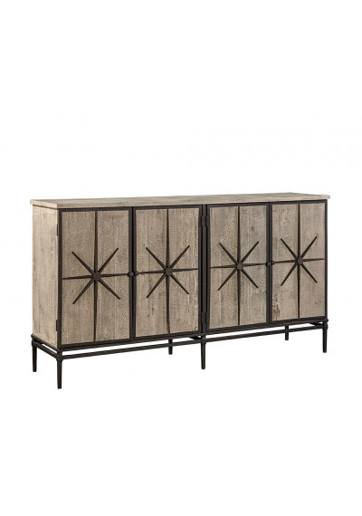 4 Star Iron & Reclaimed Pine Sideboard Cabinet