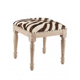 Zebra Design Cow Hide Footstool Bench Ottoman