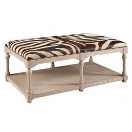 Zebra Design Cow Hide Coffee Table Ottoman