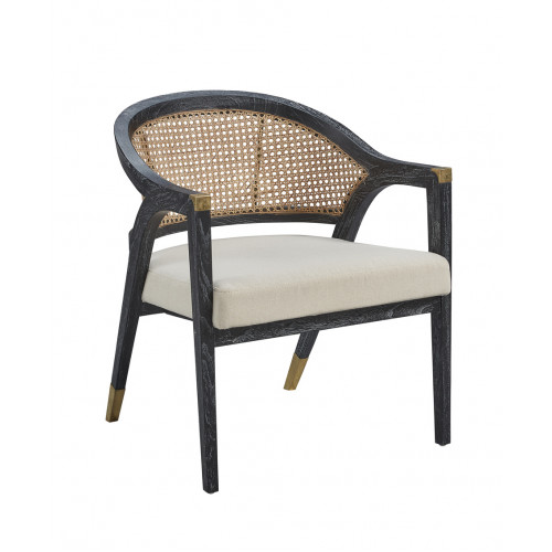 Black Finish Curved Back Natural Cane with Brass Finishes Accent Chair