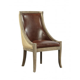Brown Leather Oak & Burlap Dining Accent Chair Set of 2