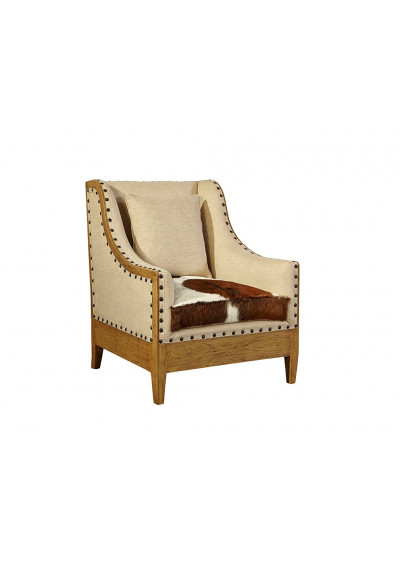 Hair on Hide Linen & Nail Head Detailing Arm Chair