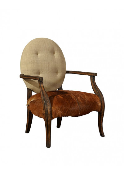 Hair on Hide Leather & Linen Arm Chair