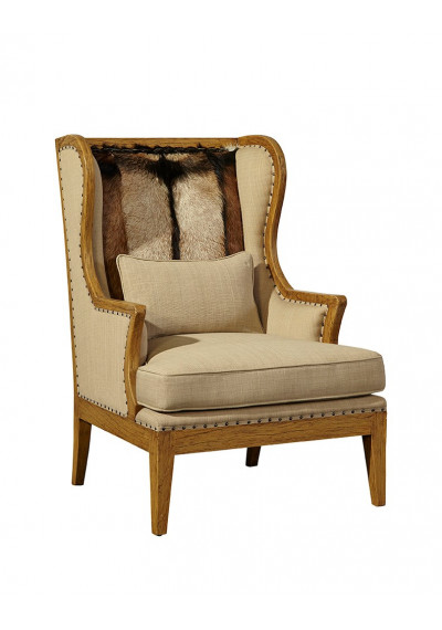 Hair on Hide Leather & Linen Wing Chair  *WE HAVE ONE LEFT !!*