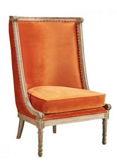 Orange Velvet Stately Tall Back Chair