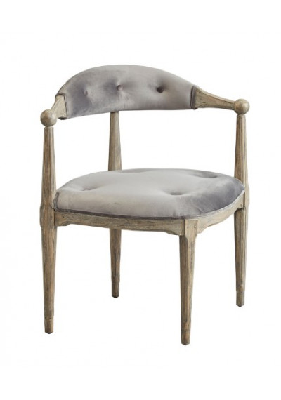 Grey Velvet & Wood Unique Corner Chair