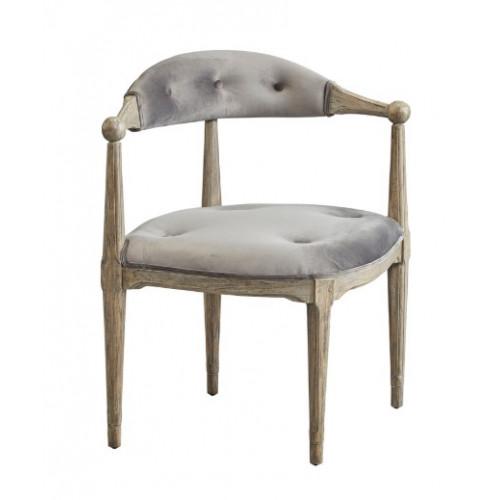 Grey Velvet & Wood Unique Corner Chair