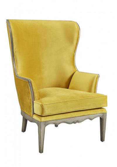 Lemon Yellow Velvet Stately Tall Wing Back Chair