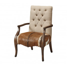 Hair on Hide Leather & Tufted Linen Arm Chair