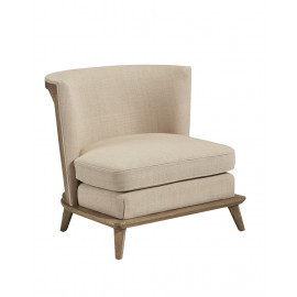Stylish Barrel Chair with Burlap Exposed Frame Back Tapered Legs