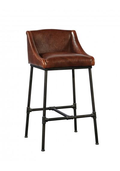 Leather & Iron Pipe Comfort Bar Stool