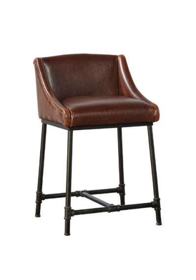 Leather & Iron Pipe Comfort Counter Bar Stool