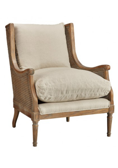 Solid Wood & Cane Wing Chair Cream Colored Cushions