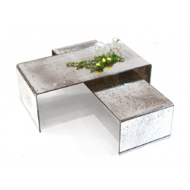 Antique Silver Curved Glass 2 piece Coffee Table