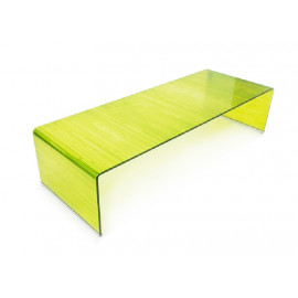 Chartreuse Yellow  Curved Glass Coffee Table