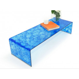 Bright Blue Curved Glass Coffee Table