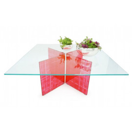 Clear Glass Square Coffee Table Moveable Red Base