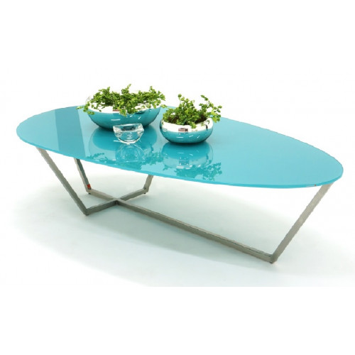 Aqua Glass Table Top Stainless Steel Legs