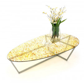 Yellow Colored Spotted Glass Table Top Stainless Steel Legs