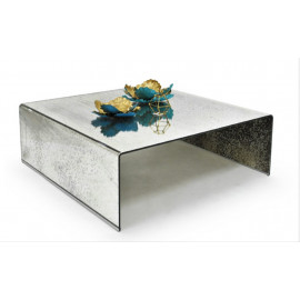 Antique Silver Curved Glass Square Coffee Table