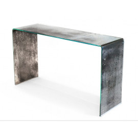 Antique Silver Finish Glass Console Table