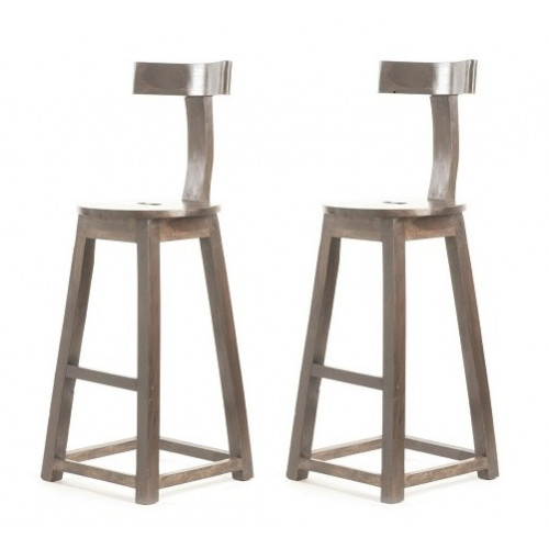 Rustic Industrial Wood T-Back Counter Bar Stool -Set of 2
