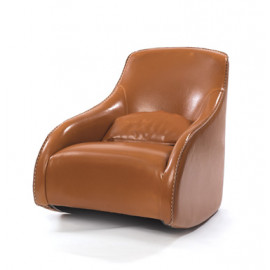 Light Brown Leather Contemporary Wave Accent Chair