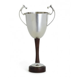 Tall & Skinny Silver Nickel Trophy Vase Wood Base