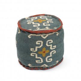 Southwestern Style Kilim Jute Ottoman pouf