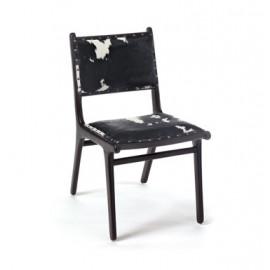 Cowhide Dark Brown Wood Dining Chair