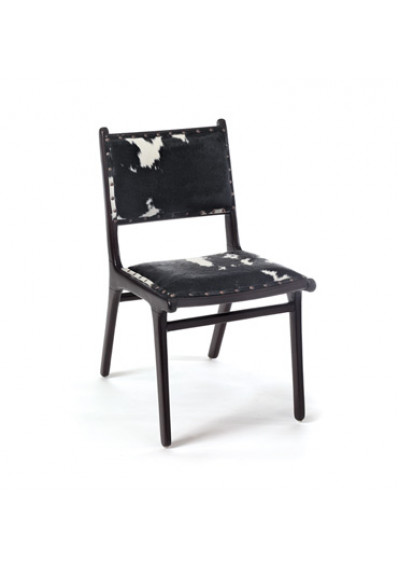 Cowhide Dark Brown Wood Dining Chair