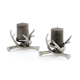 Antler Candle Holders Nickel & Brass (set of two)