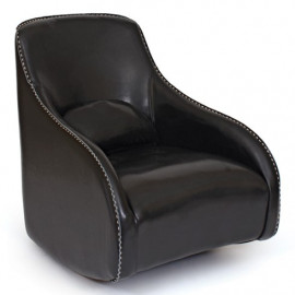 Black Leather Contemporary Wave Accent Chair