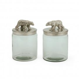 Carved Bear Jars Polished Nickel   - (set of two)