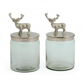 Polished Nickel Carved Elk Glass Jars (set of two)