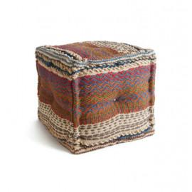 Kilim Jute Square Pouf Footstool Ottoman