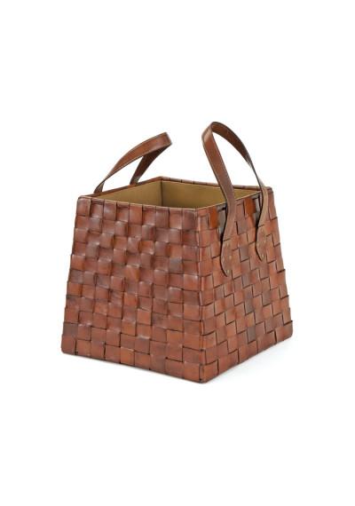 Woven Leather Square Basket Magazine Holder