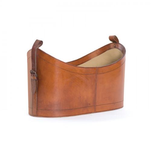 Leather Basket Magazine Holder