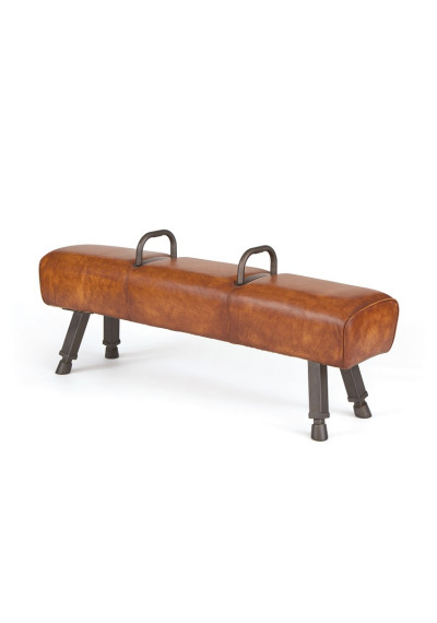Leather Pommel Horse Bench Iron Handles Wood Horse Feet