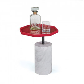 Red Stop Sign Table Top Marble Base Accent Side Table
