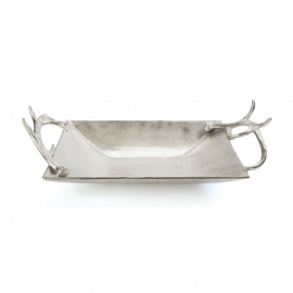 Brushed NIckel Antler Tray Bowl
