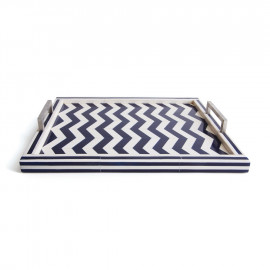 Chevron Blue & White Tray