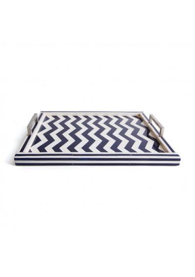 Chevron Blue & White Tray