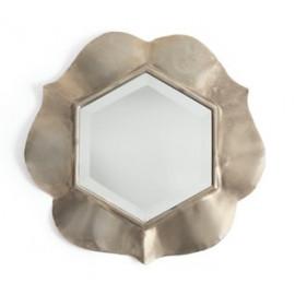 Antique Silver Petal Beveled Framed Mirror