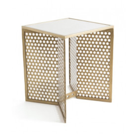 Brassy Gold Screen Base White Marble Top Accent Tables