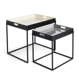 Black Iron Tray Top Design Nesting Tables