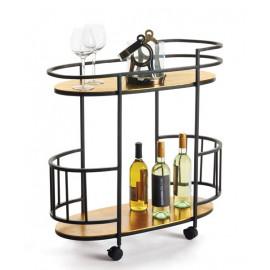Copper & Black Frame Oblong Bar Cart On Wheels