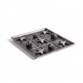 Shells & Starfish Silver Pewter Tic Tac Toe Game