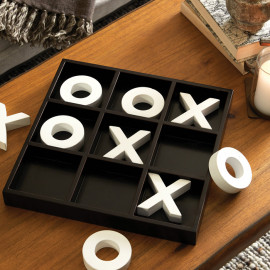 Simple White Game Pieces Tic Tac Toe Board Game